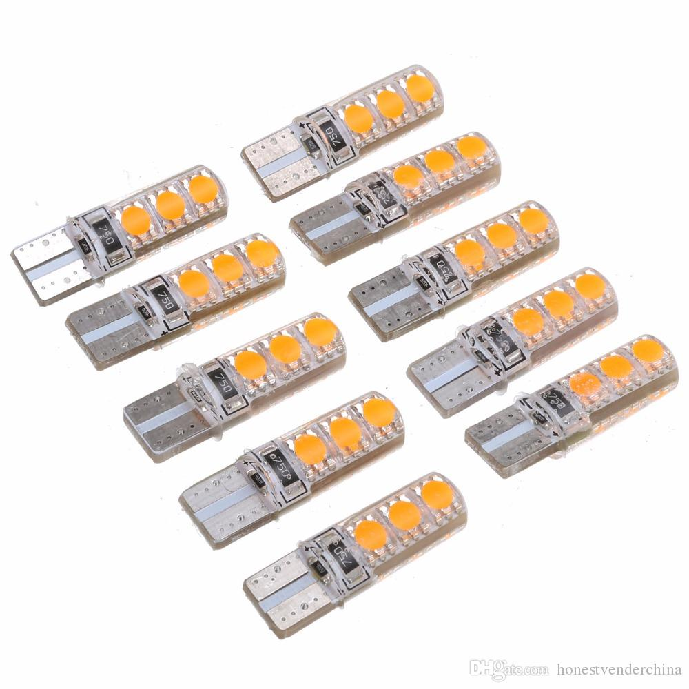 10pcs T10 5050 6SMD CANBUS LED CANBUS Aucun Erreur Largeur Largeur Plaque d'immeuble de la queue de queue de la queue de queue de virage de signal super lumineux lumières orange