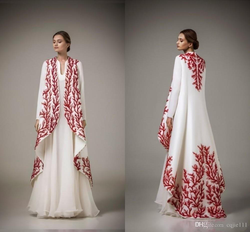 Arabic Kaftans 2019 Traditional Abayas for Muslim High Neck White Chiffon Red Embroidery Arabic Evening Gowns with Coat Formal Mother Dress