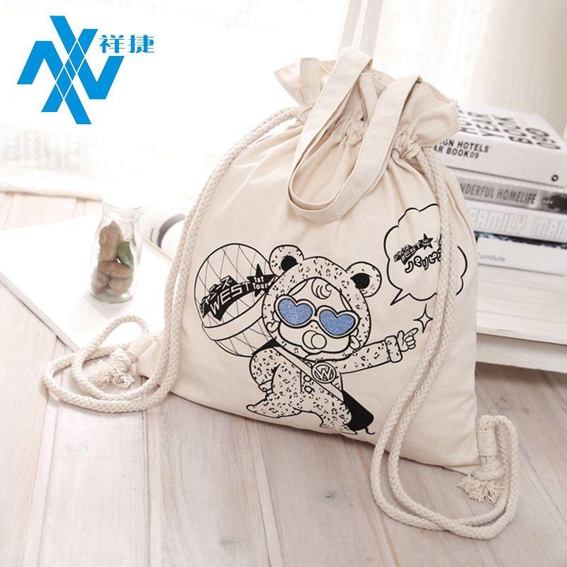 Toda la bolsa de tela de franela de algodón regalos de publicidad creativa bolsa de paquete Protección ambiental Pantalla de seda Compras Bolsa de compras