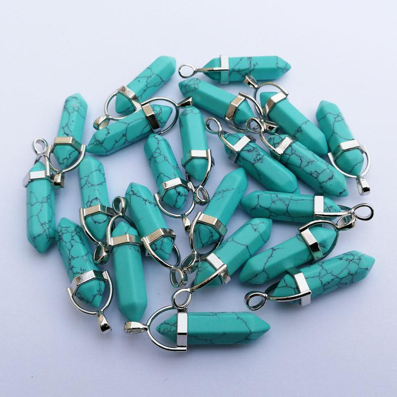 Mixed Natural stone Point Chakra Healing Gemstone Pendants 24pcs//lot Wholesale
