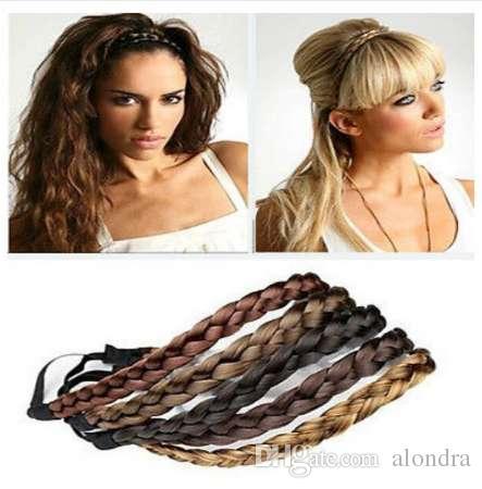 isnice Mode Frauen Mädchen Kunsthaar Geflochtenen Zopf Elastisches Stirnband Haarband Geflochtenes Band Haarschmuck Bohemian Style