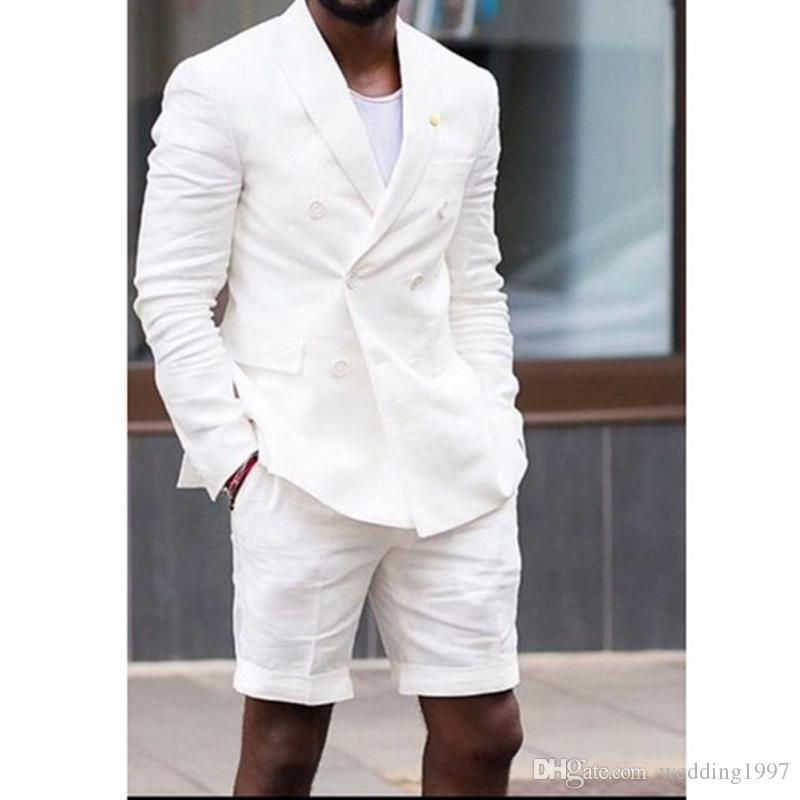 White Linen Man Suits with Double Breasted Blazer Short Pants Two Piece Summer Casual Style Male Jacket Wedding Groom Tuxedos