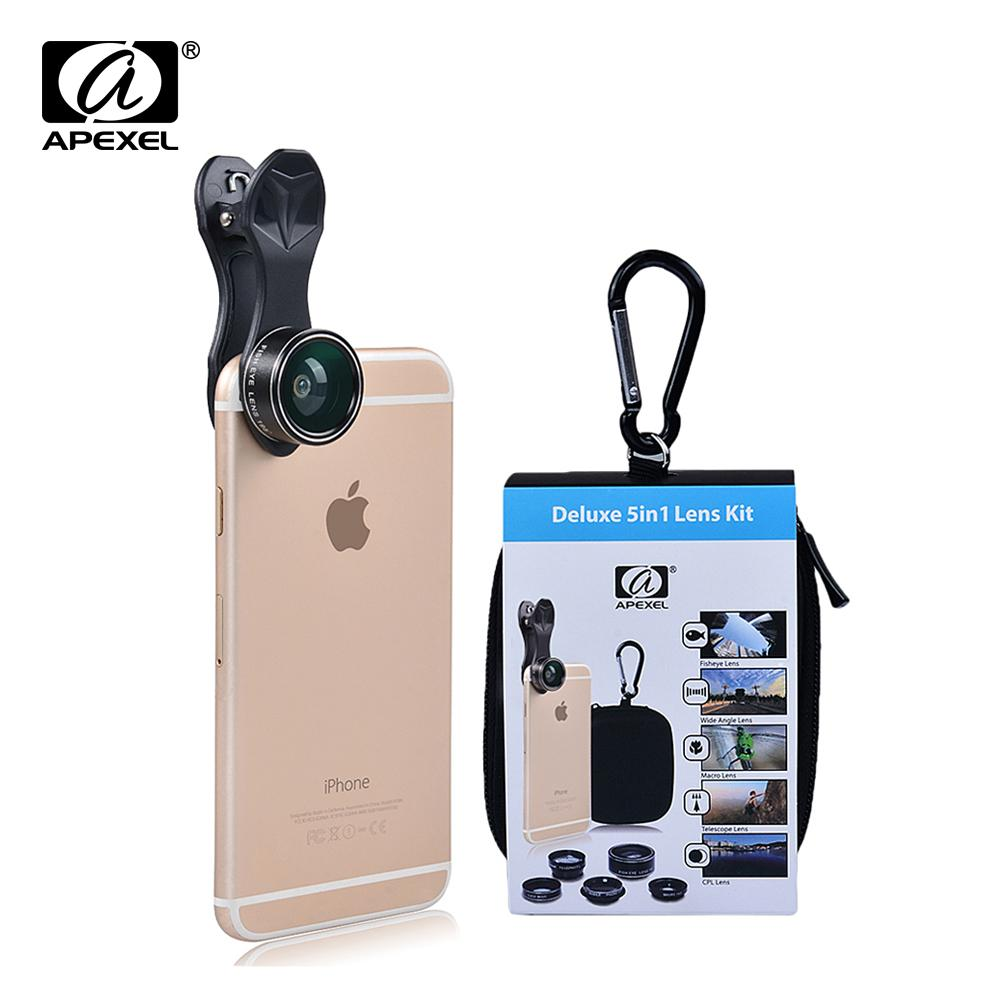 wholesale Universal Clip 5 in 1 Camera Lens Kit for iPhone Samsung Xiaomi Smart phones Lenses Fisheye Macro WideAngle TelescopeLens