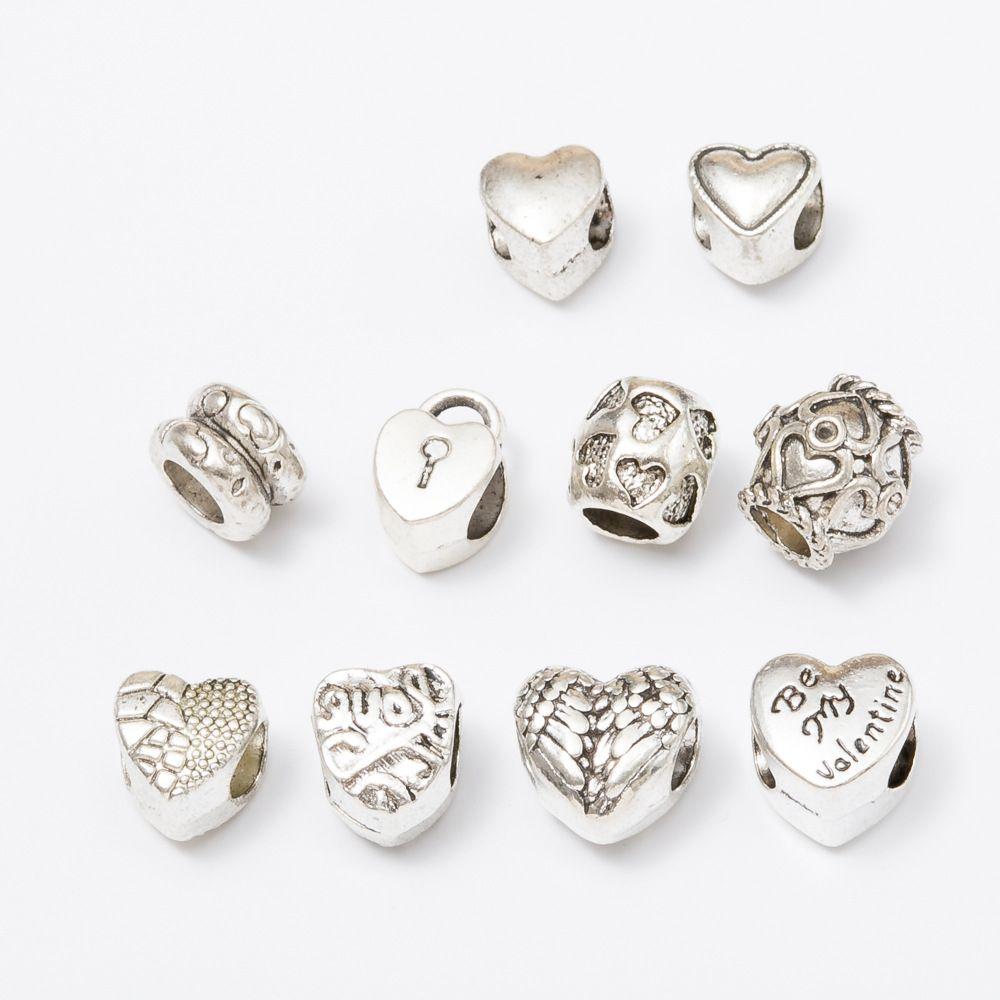 مزيج 10 نمط قلب الحفرة الكبيرة فضفاض الخرز سحر لسوار DIY مجوهرات سوار ل BraceletNecklace الأوروبي