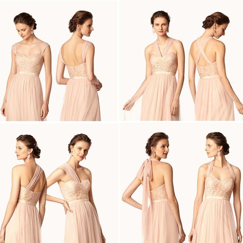 Venta caliente Old Rose Vestidos de dama de honor largos y baratos Escote de flujo de gasa Verano Rose Blush Dama de honor vestidos de fiesta formales