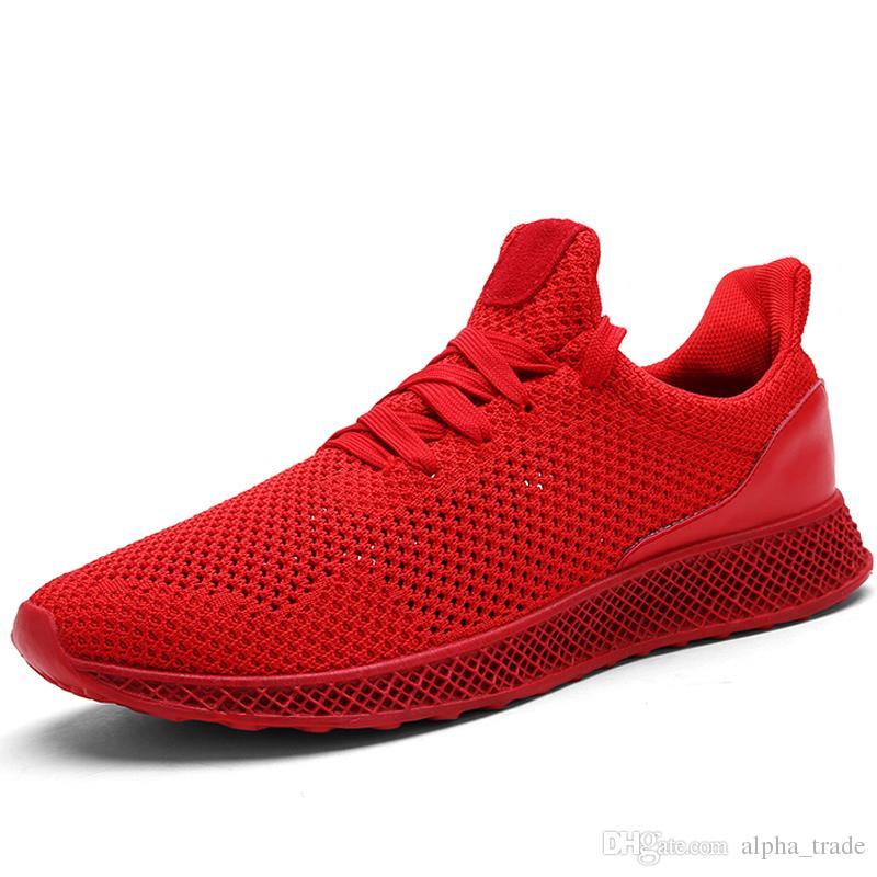 New summer men's shoes black breathable casual shoes Korean wild mesh casual men's shoes fashion flat red student tide