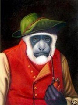 """Venta al por mayor, """"Lovely Monkey"""" pintura al óleo del arte moderno de los animales pintados a mano, decoración de la pared casera calidad de la lona tamaño puede ser personalizado R040 #"""