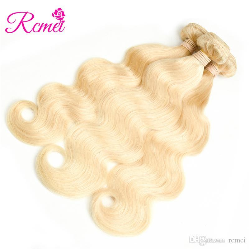 Rcmei 613 блондинка перуанский пучки волос волна тела ткать Реми человеческих волос 3bundles 10 до 30 дюймов Бесплатная доставка