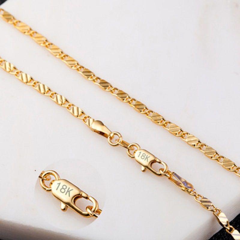 2 мм Плоских цепей ожерелье для женщин Мужчин Hip Hop 18K золотых ювелирных изделий Ожерелья Подвески Подвески ювелирных аксессуаров 16 18 20 22 24 дюймов Оптовых