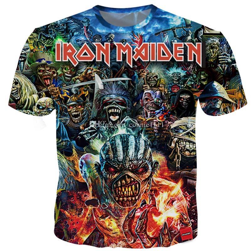 Summer T Shirt Iron Maiden Men's Short Sleeve Eddie Tee Cheering Fans 3D Printed T shirts Men Women Couples tshirt S-5XL 13 Styles