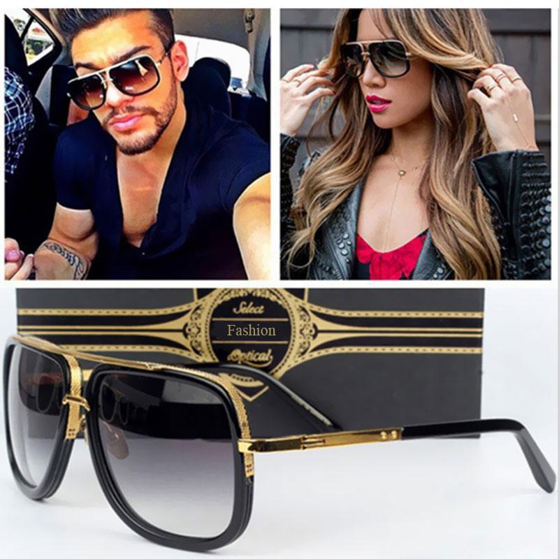 Klasyczne Płaskie Top Lustro Sunglass Sun Okulary Kwadratowy Złoty Mężczyzna Kobieta Supergwiazdkowy Ograniczony Mężczyźni Moda Okulary Kobiety
