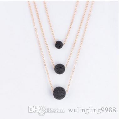 Многослойные ожерелье натуральный камень лавы шарик эфирное масло диффузор ожерелье подвески цепи ювелирные изделия для женщин ожерелья