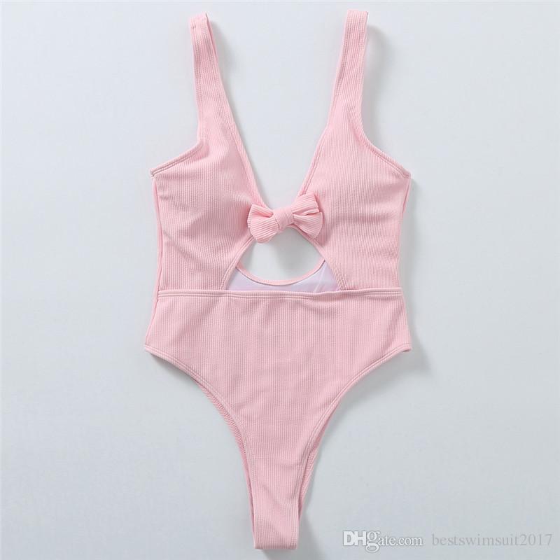2018 Hot Sale Sexy One Piece Swimwear Mulheres High Cut Monokini Swimsuit Preto recorte Piscina Bodysuit Beach Girl Swim Wear terno de banho-de-rosa