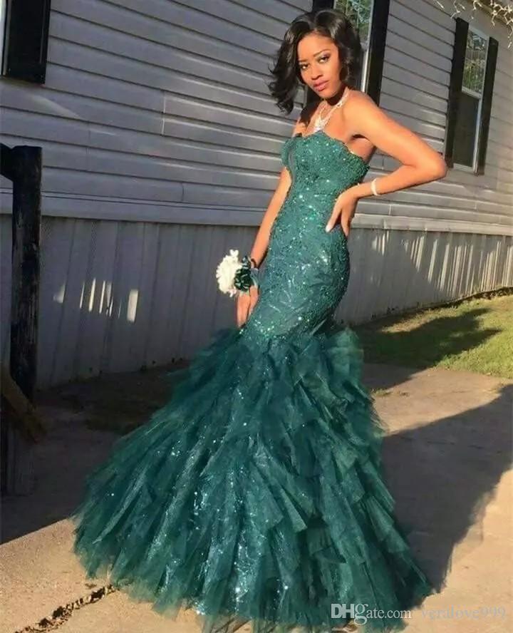 헌터 그린 머메이드 댄스 파티 드레스 2018 Strapless Sparkly Lace Sequins Tulle 이브닝 드레스 Floor Length Black Girl Wear 정장 가운