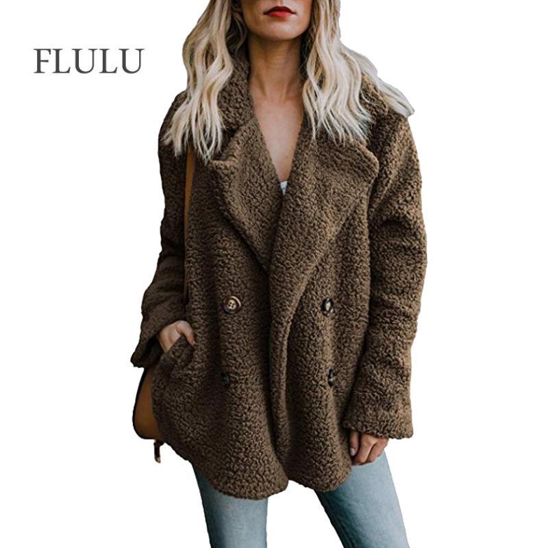 FLULU Hiver Femmes Manteau En Fausse Fourrure 2018 Casual Solide Chaud À Manches Longues En Fausse Fourrure Veste Manteau Femme Vintage Outwear casaco feminino