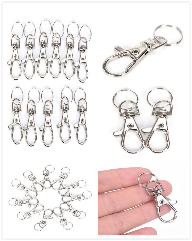 10 teile / los Silber Metall Klassische Schlüsselanhänger DIY Tasche Schmuck Ring Swivel Karabiner Clips Schlüssel Haken Keychain Split Ring Wholeales