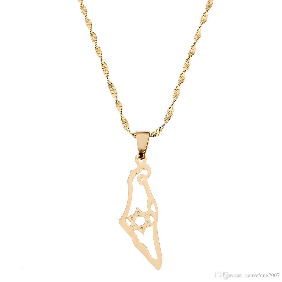 Acier inoxydable Israël Carte Collier Pendentif Hexagram Magen David Bijoux Bijoux Juifs Etoile de David