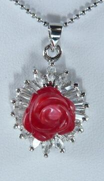 Free Shipping 2 kinds! New red Pink Sea Coral Carving Flower Inlay Crystal Pendant Necklace