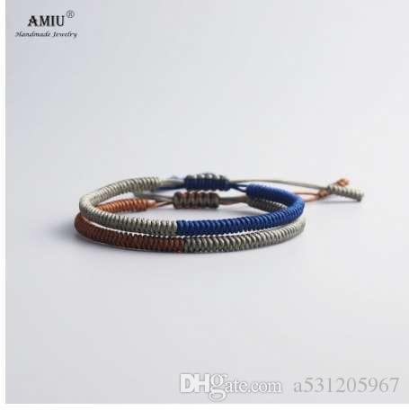AMIU 멀티 컬러 티베트어 쥬얼리 불교 티베트어 팔찌 여성을위한 Bangles 남자 수제 매듭 밧줄 Budda Lucky Bracelet