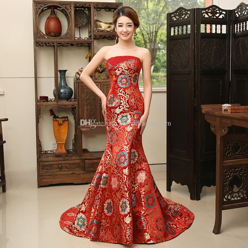 Nouveau moderne sexy parti dreses long cheongsam style chinois soirée mariage qipao rouge traditionnel style de fuite cheongsam Robe