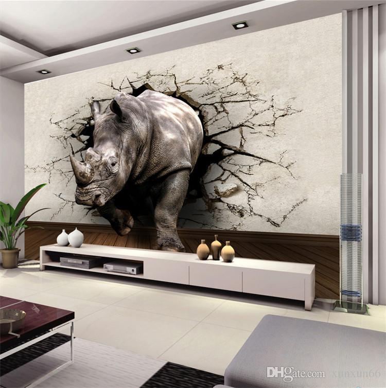 Acquista Arge Personalizzato Rhinoceros Animal Mural 3d Muro Foto Murales  Wallpaper Camera Da Letto Soggiorno 3d Murale Affresco 3d Murales A $18.1  ...