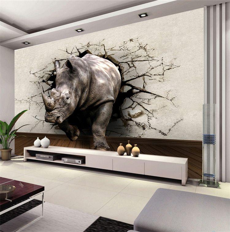 Arge Personalizado Rinoceronte Animal Mural 3d Murais de Parede Foto papel de parede para o Quarto Sala de estar 3d Mural de Parede Fresco 3d murais