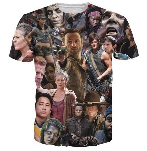 Lo nuevo del Mens / Womans The Walking Dead Summer Style Paparazzi divertido 3D Imprimir tapas de la camiseta ocasional más ZGX072 Tamaño