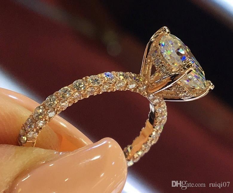 Promesa romántica Alianzas de boda Anillo Zircon Piedra Corona Anillos de compromiso para las mujeres Joyería del dedo A117