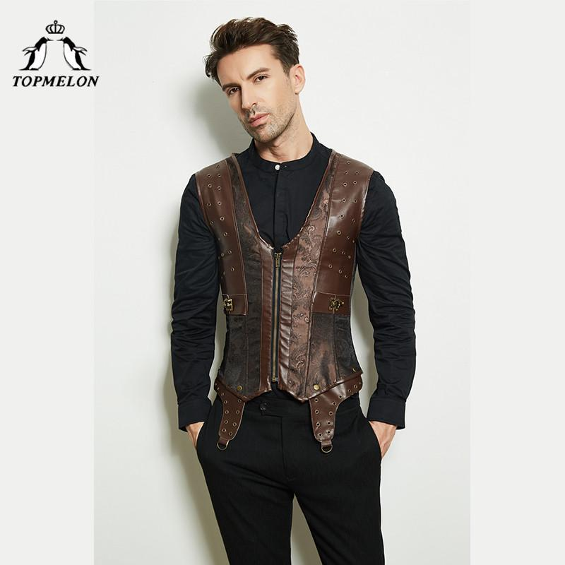 wholesale Steampunk Men Shapewear Brown Lace Up Corset V Neck Body Shaper Front Zipper Slimming Sleeveless Clothing 2018 Fashion