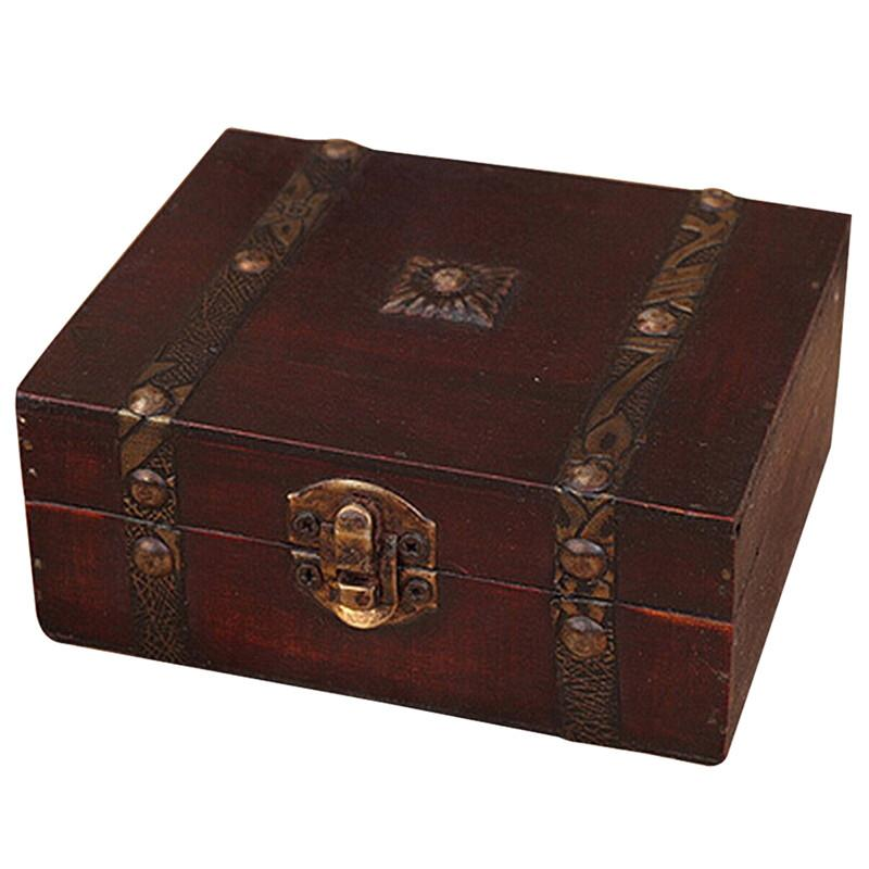 Caja de almacenamiento de caja de almacenamiento de joyas de cofre del tesoro de madera vintage Organizador Anillo Regalo