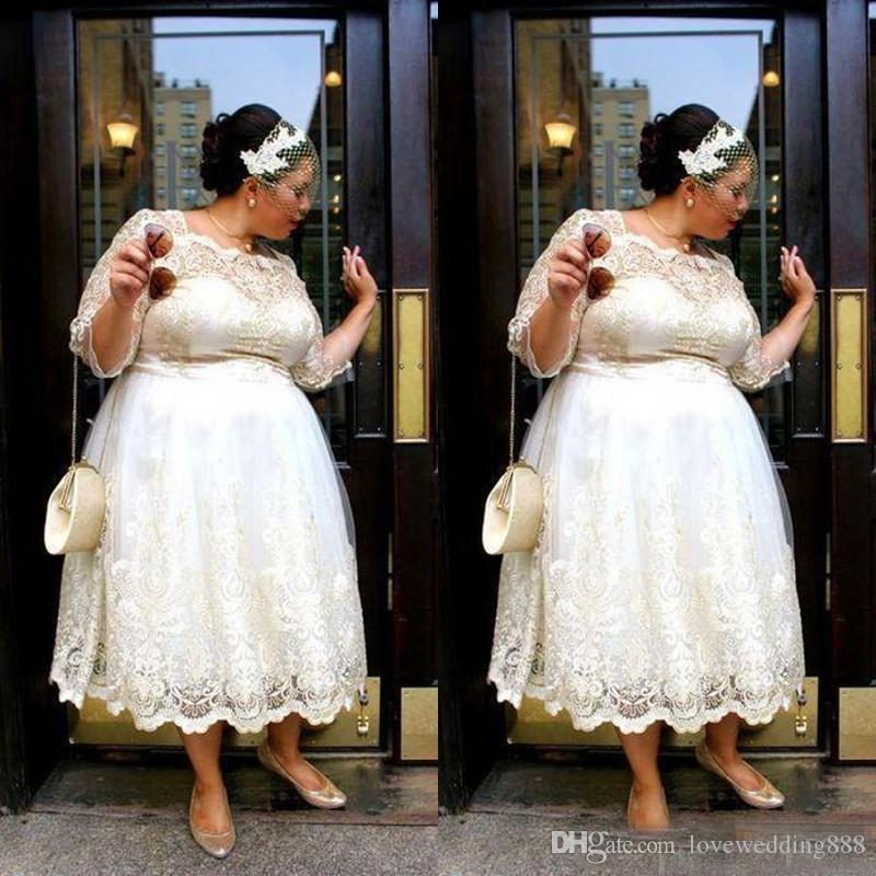 Plus Size Lace Tea Length Wedding Dresses 2018 A Line Applique Short Bridal  Gowns Illusion 3/4 Long Sleeves Fat Women Vestido Alternative Wedding ...