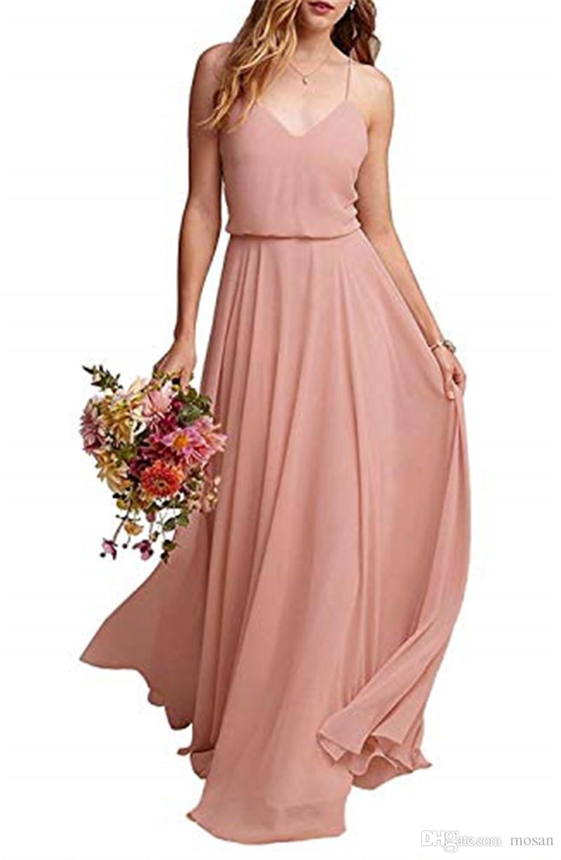 Mode Chiffon Lange Brautjungfernkleider Chiffon Sleeveless Brautjungfernkleid Sexy Frauen Formale Abendkleider Kleider