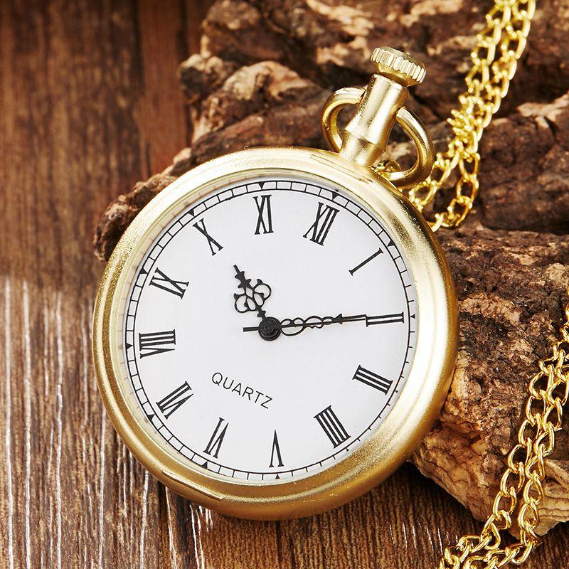 Poceket la vendimia del oro del reloj mujeres de los hombres collar colgante de cadena de moda único número romano de línea de Steampunk de los hombres relojes de bolsillo