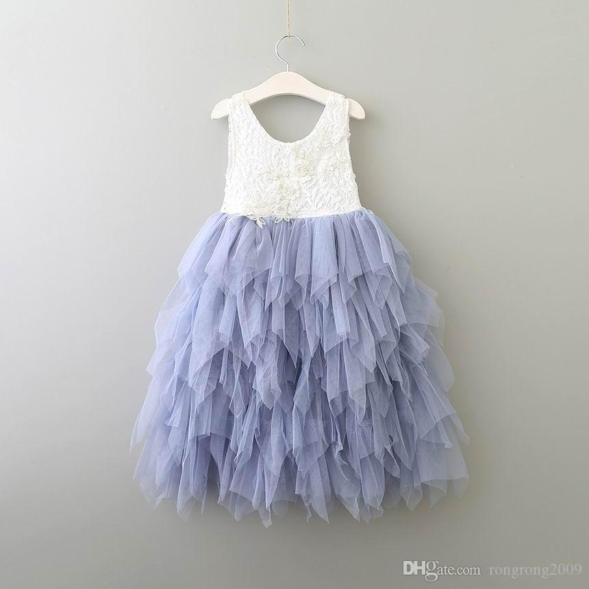 Wholesale Summer New Girl Lace Dress Princess Flower Tiered Tulle Mid-Calf Sundress For Wedding Party Children Clothing 2-8Y E17103