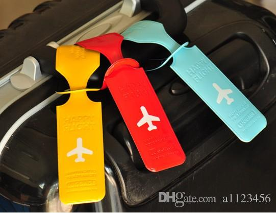 New Style Cute Luggage Label Straps Suitcase bag accessories Identify Tags Luggage Tags Airplane PVC Accessories a1123456