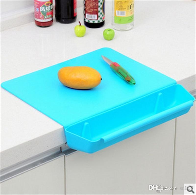 قطع بلوك 2 في 1 عملي وردي اللون مع فتحة طبق تقطيع كتل البلاستيك أدوات المطبخ عدم الانزلاق المجلس 18hj Y Z