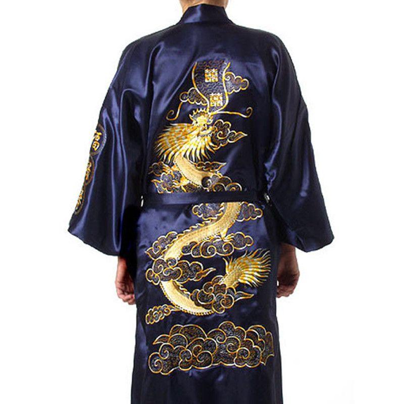 Ücretsiz Kargo Çin geleneği Mens robe kıyafeti pijama Bornoz Gecelikler Ejderha Ücretsiz kargo boyutu ile S-XXXL S0008