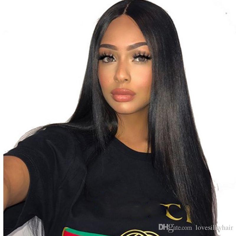 Горячий очаровательный длинный прямой натуральный парик моделирования brazilain человеческих волос средняя часть передний длинный парик шелковистый прямой полный парик