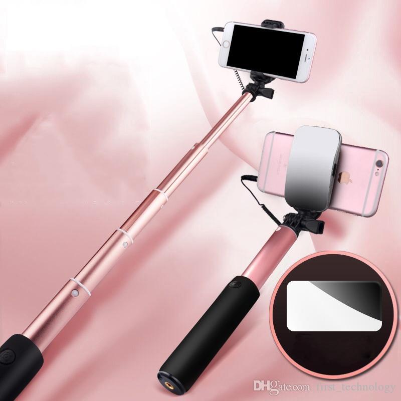 미니 셀카 스틱 버튼 유선 모노 포드 범용 아이폰은 미러 (6 선택)으로 8 개 7 개 6 S 안드로이드 삼성 화웨이 샤오 미 스틱 X