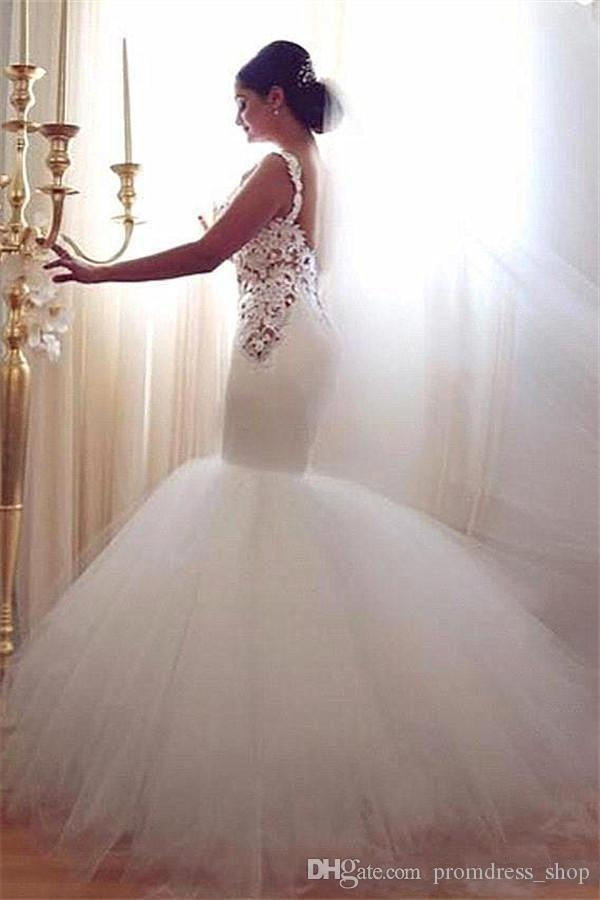 Гламурные Русалка Богиня Кружева Свадебные платья 2020 Милая Vintage Lace Sexy Backless Многоуровневое Тюль Свадебные платья лета Arabic