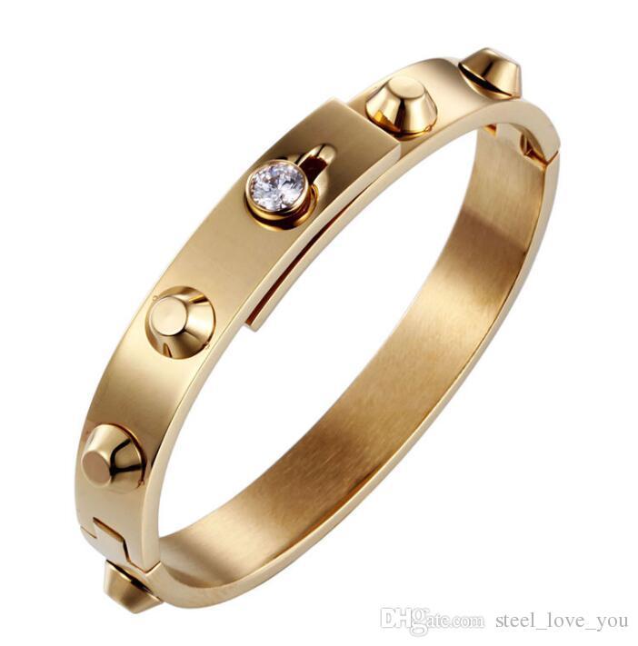 Braccialetti degli amanti dell'acciaio inossidabile di titanio Braccialetti classici delle donne degli uomini del braccialetto dell'oro giallo del polsino Trasporto libero