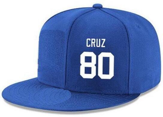 Cappelli snapback Personalizzato qualsiasi numero nome giocatore # 80 Cruz # 87 Cappello Shepard Personalizzato TUTTI I tappi squadra Accetta logo personalizzato ricamo piatto Nome