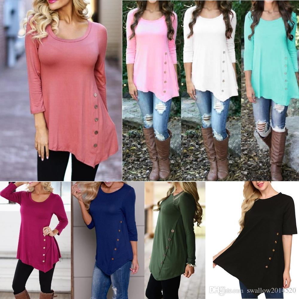 2018 Women Buttons Irregular Shirts Round Collar Long Sleeve Short Sleeves Hem Buttons Shirt Blouse Tees Vestidos Clothing