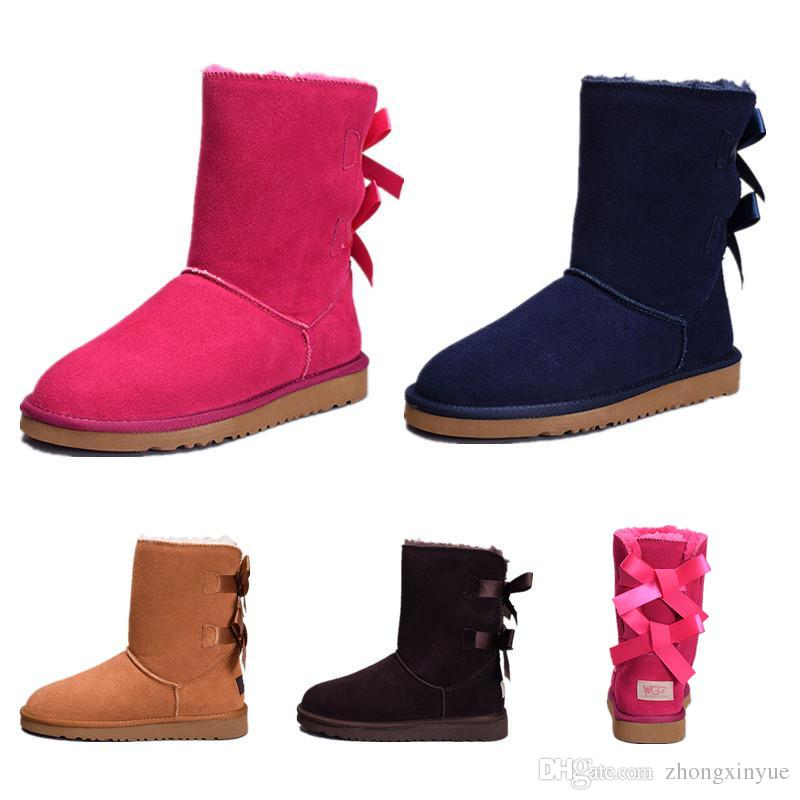 Cheap Best Quality New WGG Women's Australia Classic kneel Boots Grey Coffee Red Navy Blue Black Red Women girl boots US 5-10