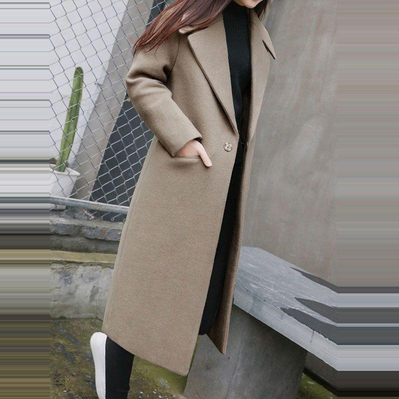 1 PC Printemps Automne Manteau De Laine Des Femmes Nouvelle Mode Long Manteau De Laine Simple Poitrine Slim Type Femelle Automne Hiver Manteaux De Laine Z5438 S18101204