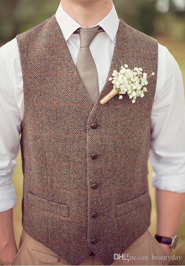 2020 New Farm Wedding Brown Wool Herringbone Tweed Vests Custom Made Groom's Suit Vest Slim Fit Tailor Made Wedding Dress Vest Men Plus Size