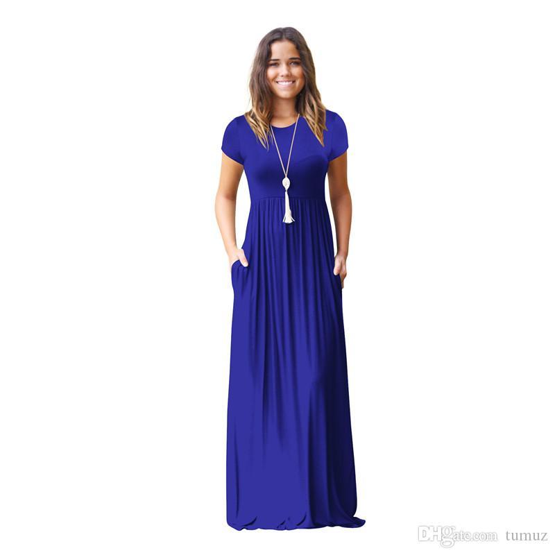 Новая длинная юбка, с коротким рукавом повседневное карманное платье, юбка для беременных