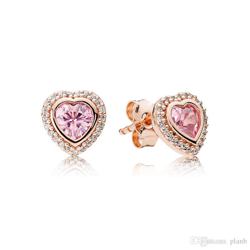 S925 Gümüş Pembe Aşk Kalp 18 K Gül Altın kaplama Küpe Orijinal kutusu Fit Pandora Takı ile Damızlık Küpe Kadın Düğün Hediye