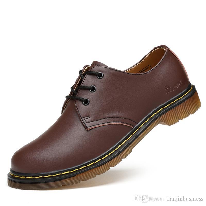mejor selección 121ac 2703a Compre Zapatos Casuales Zapatos De Hombre De Cuero Genuino De Lujo Brogue  Lace Up Plataforma Hombre De Moda Pisos Zapatos Casuales Masculinos Negro  ...