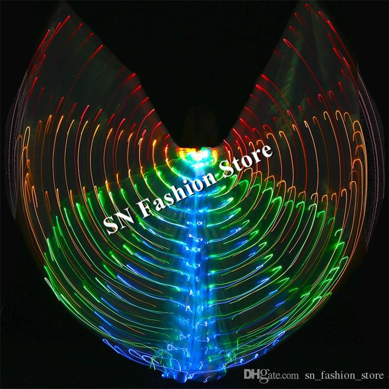 BC34 Belly dance led costumes colorful luminous led cloak glowing dancer wings ballroom singer stage performance catwalk bar wear cloth bar